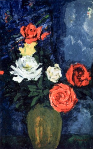 Roses in Vase, 1980, oil on cardboard, 57,7х37,8