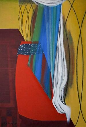 Фірцак Б. 'Синє скло на червоному столі', 2014, п.т., 120х90