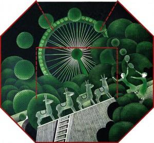 N. Ponomarenko 'Badminton'. From the series 'Parks', 1976, mixed technique on paper, 33х35,.JPG