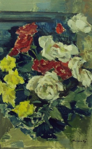 Roses on a Blue Background, oil on cardboard, 65x42