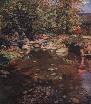 Near The Stream, 1950, oil on canvas, 104x90