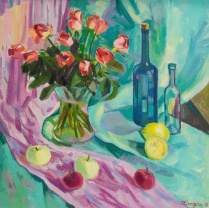 Y. Katran Still Life With Roses', 2018, oil on canvas, 70x70