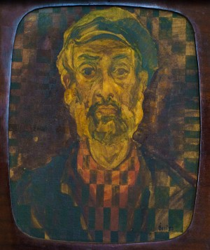 Self-portrait onTV, oil on plywood, 1987, 59x48,6