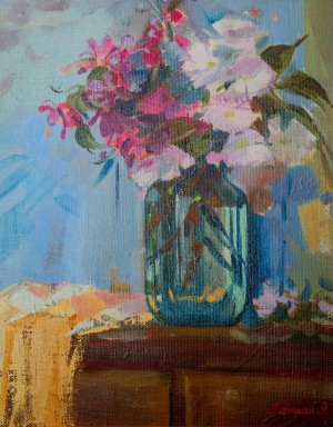 Y. Katran Still Life With Cherry Blossom', 2016, oil on canvas, 40x50