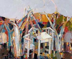 In Autumn Garden, 2008, oil on canvas, acrylic, 90x100