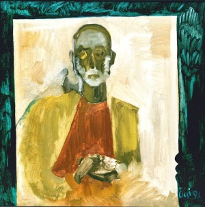 Self-Portrait In The Coffin, oil on canvas, 1994, 80x80