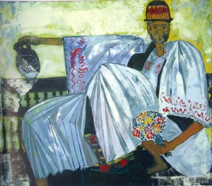 Self-Portrait In the Hungarian Clothes, 1992, oil on canvas, 100x120