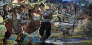 A Dance on Verkhovyna, 1960, oil on canvas, 99,5x200