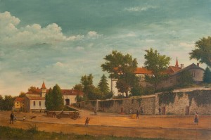 V. Parii Castle Of Count Schonborn (courtyard), oil on canvas, 110x120'