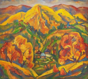 L. Mykyta 'Krasiia Mount', 1998, tempera on cardboard, 67x75
