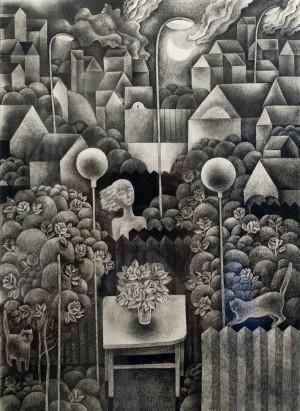N. Ponomarenko 'Vacation', 1974, mixed technique on paper, 42x30.jpg