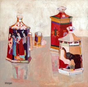 Chinese Vases On A Pearl Background, oil on canvas, 60x60
