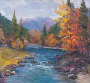 V. Senko Autumn Over Tereblia Village', 2016, oil on canvas, 70x75
