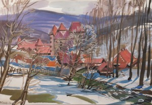 V. Hanzel Winter View Of Poliana Village'