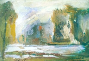 Riverside, sketch, 2003, oil on canvas, 40x50