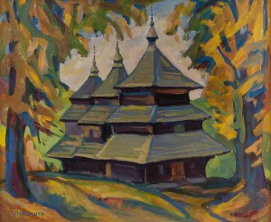 L. Mykyta 'Mykhailivska Church', 1997, tempera on cardboard, 44x52