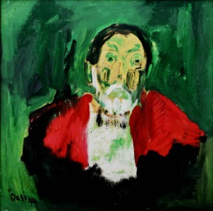 Self-portrait In Red, from the photo archive of Y. Nebesnyk, 1994, oil on canvas, 80x80