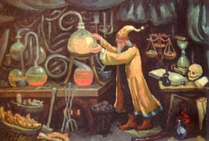 Alchemist, 1999, oil on cardbord, 55х79,5