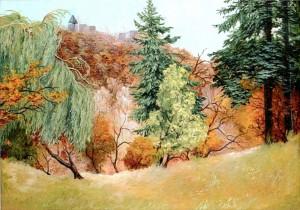 'View On The Nevytskyi Castle', 1996, oil on canvas, 65x80