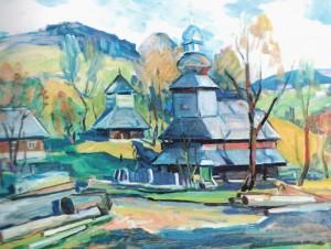 Church in Bukovets Village, 2001, oil on canvas, 70x90