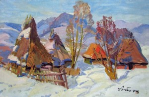 Houses In Winter, oil on cardboard, 48x75