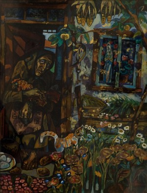 Nostalgia, 1999, mixed technique on glass, 50x39