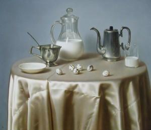 Breakfast, oil, masonite, gesso ground, 61x73