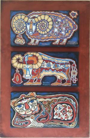 Triptych Animalistics, Golden Fleece, Golden Taurus, Trophy
