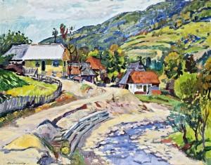Verkhovyna Village, oil on cardboard,  74х93