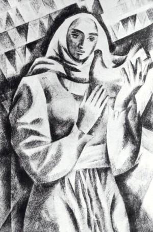 Дівчина з пташкою, 1988, пап.монотипія, 23х35