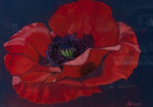 'Archaic, Wise, Life-giving – A Magnetic Poppy Kateryna', 2017, pastel on paper
