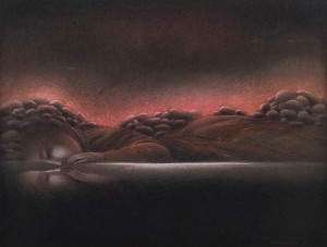N. Ponomarenko 'The River And The Bank', 1990, pastel on cardboard, 55x70