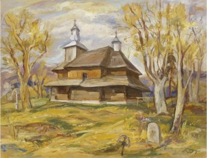 St. Basil the Blessed Church in the Village of Sil, 1990 oil on canvas,  60х77,5