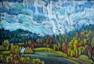 Карпатський пейзаж, 1991, паст., крейда, 35х50