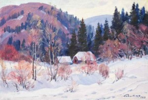 Huts In The Mountains, 1983, oil on canvas, 59х85
