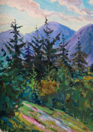Etude Firs Land, 1978, oil on cardboard, 50x35