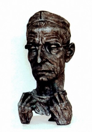 Portrait Of An Academician M. Amosov, 1985, artificial stone, 75x30x35