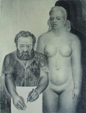 'Автопортрет з музою із тінями', 1973, пап.автолітографія, 57х43