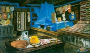 В бабиній хаті, 1971, карт.о. 50х80