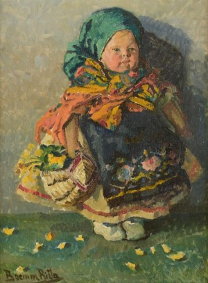 R. Boemm Girl In Hungarian National Dress', oil on cardboard
