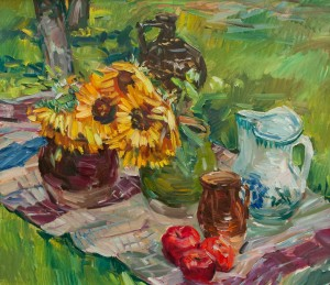 F. Erfan 'Still Life With Sunflowers And Ceramic Dishes', 2018