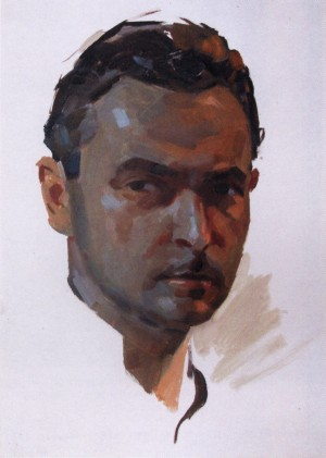 A. Kashshai 'Self-portrait', the end of the 1950s, oil on cardboard, 43x30