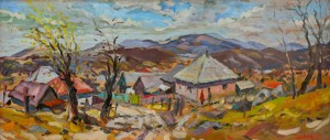 A. Sekeresh Vilkhovytsia Village', 2015, oil on cardboad, 40x92