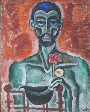 Self-portrait With Flower, from photo archive of Y. Nebesnyk, 1967, oil on canvas, 100x75