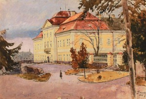 Building of Zhupanat In Uzhhorod, 1946, paper on cardboard, watercolour, 43х65