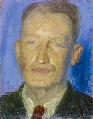 A. Kotska 'Self-portrait', 1942, plywood, oil, 32x25,5