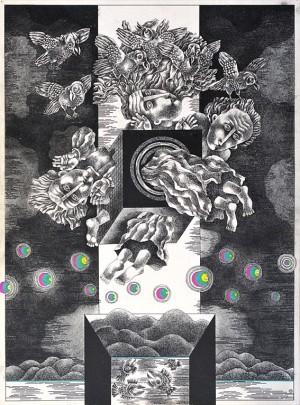N. Ponomarenko 'Flight', 1975, mixed technique on paper, 40x30.jpg
