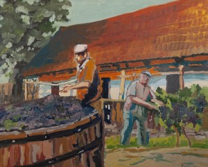 N. Rybar Grape Harvesting', 2017, oil on canvas, 50x60