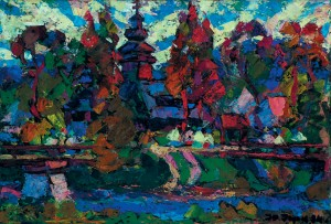 Holiday In Chornoholova Village, 1994, tempera on canvas, 60x90