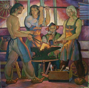 In The Smithy of Grandfather, oil on canvas, 87х87